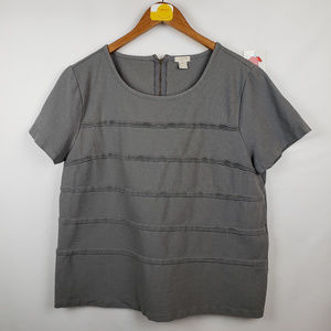 J. Crew Womens Blouse XL Short Sleeve Ruffled Gray